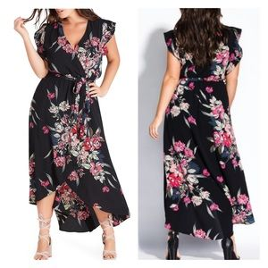 City Chic Misty Floral Maxi Dress Black Red Wrap